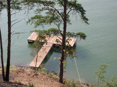 Private dock located directly below the cabin.