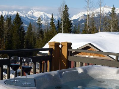 Enjoy the Rocky Mountain view while soaking in the hot tub