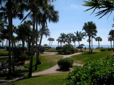 Sanibel Island condo rental - View of the Gulf and Pointe Santo tropical grounds from our Lanai
