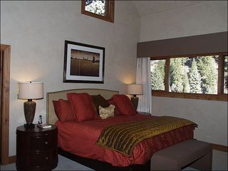 Beaver Creek house photo - Master Suite Includes a King Bed, Flat-Screen TV, Gas Fireplace, and Private Bath