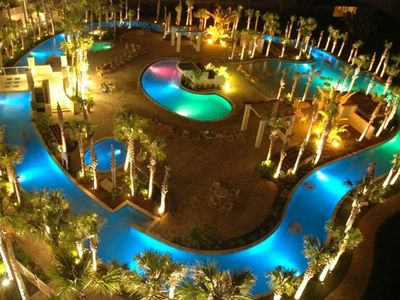 The lagoon pool at night from the roof top balcony.