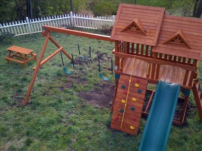 A Big, Fun Playset for the Kids Next to Deck