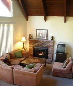 Large couch, High Ceilings, Gas Fireplace