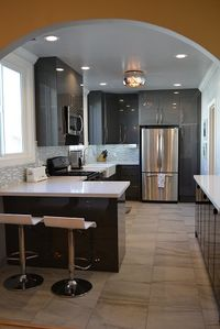 Light filled newly remodeled sleek European style kitchen. Fully equipped.