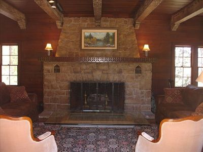 Grand salon fireplace is a wonderful place to hang out with friends and family.