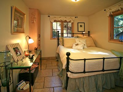 Bedroom with Full Bed, windows to the stream, luxury linens
