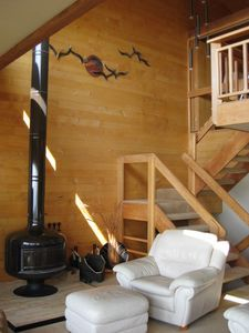 Wood Stove and stair to the third level