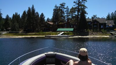 Approaching the house after boating on the lake.