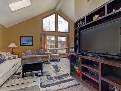 Briar Rose - a SkyRun Breckenridge Property - Main Floor Living Room with large TV and views