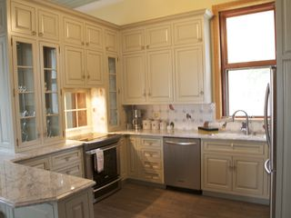 Northport cottage photo - The brand new gourmet kitchen. High end appliances, marble counter tops & mo