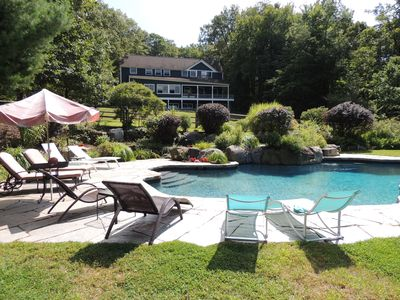 Luxury Home with Heated Pool, River Views and Guesthouse 1 Hour from Manhattan