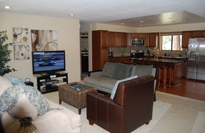 Family room with Flat Panel HD TV,  Stereo w/ipod doc & Blu-Ray Player