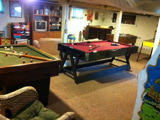 Game room with pool, foosball, air hockey, full size arcade game, tons of games