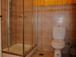 Platanias villa photo - Full bathroom with jetted shower in the lower level of the villa