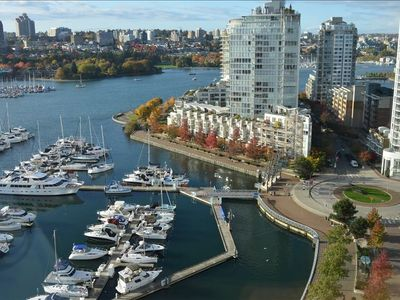 Gorgeous view from living room of Yaletown Marina/ Marinaside Cres.