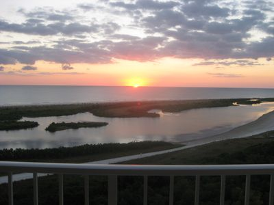 View from the balcony overlooking sunsets every night.