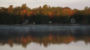 Beautiful Fall foliage across Lake Devereaux--as seen from our property