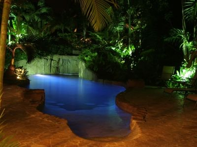 Rincon villa rental - Take Romantic Evening Swim in Lagoon Pool.