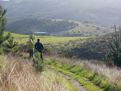 Nearby hiking trails show off gorgeous views of Marin County.