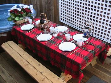 Outdoor dining during the summer. Picnic table and BBQ. Bring a bottle of wine!