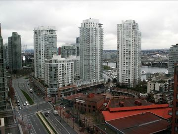 View from the Master Bedroom over the historic Yaletown Roundhouse.