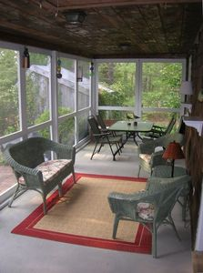 Furnished screened porch, sit and relax or have dinner on the porch