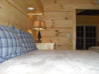 Berkeley Springs cabin photo - King Bedroom #2 with built-in lighting above bed.
