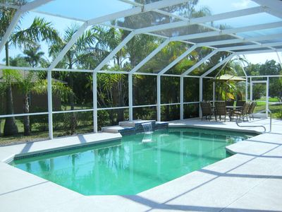 Large south-facing and fully screened heated pool.