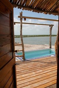 Private plunge Pool with custom belizean hardwood deck