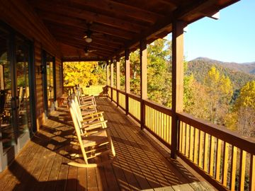 Porch overlooks the Great Smoky Mountains