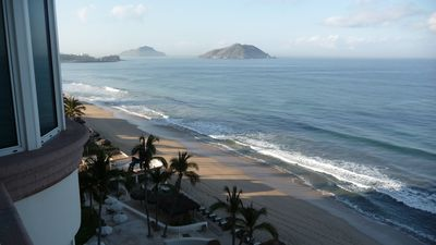 Mazatlan condo rental - View from balcony (7th floor) South towards Mazatlan's three islands.
