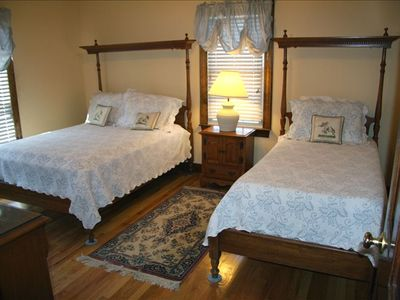 Front roadside bedroom with full and twin beds (memory toppers) and shower BR(2)