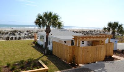 St. Augustine Beach house rental - Oceanfront Cottage 4 w/Beachfront Patio for Sun & Private Trellis Patio in Back