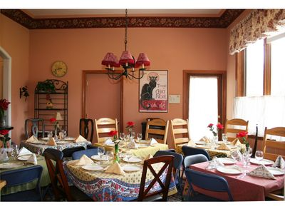 Durango house rental - Dining Room set up for 22 with tables, chairs, linens & dinnerware provided.