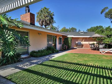 Montecito house rental - Backyard - We have a lovely covered patio with comfortable lounge chairs and beautiful landscaped yard!