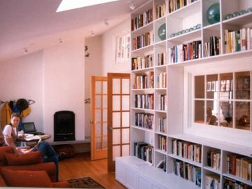 Large library with gas fireplace