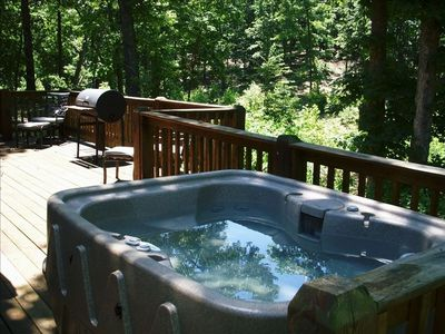 Large Back Deck Overlooking Wooded Area With Private Hot Tub