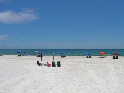 Beautiful Sugar White Sand Beach and Warm Gulf Waters just steps from the condo!