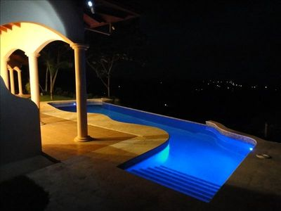 pool steps and Ojochal at night