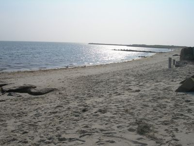 Photo taken while standing on private beach. Mouth of Parkers River in distance.