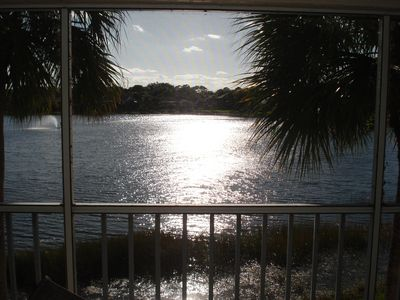 3BR--Sunset view from large lanai--corner unit so lake views also from side