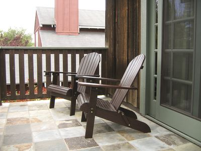 Los Olivos house rental - Slate balcony- off the master. A Perfect spot for an early evening glass of win