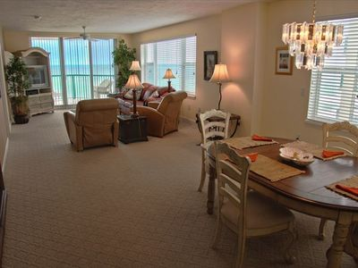 Spaciouis living/dining room combo with gorgeous scenic views of Atlantic Ocean.