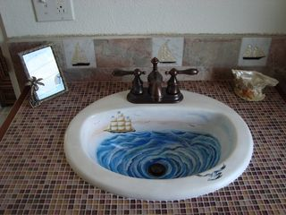 Long Island cottage photo - Hand painted sink - master bath