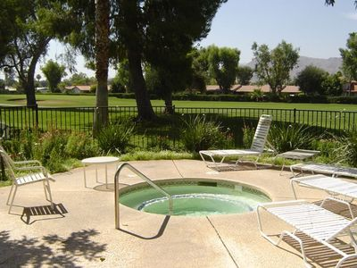 Cathedral City townhome rental - Jacuzzi with golf course and mountain views just steps from our townhome