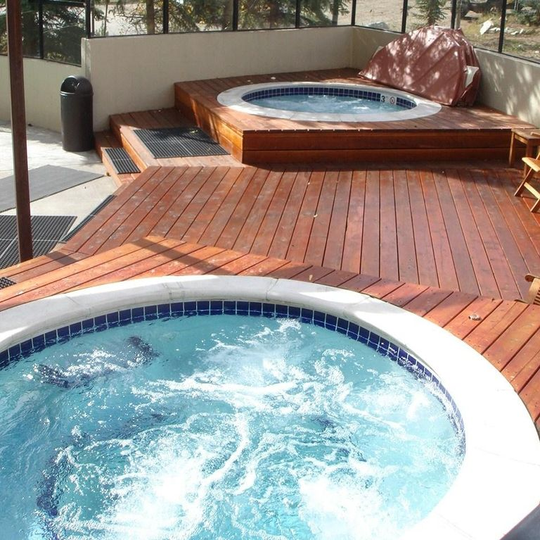 Enjoy 4 hot tubs or take a dip in the heated pool
