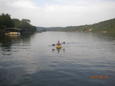 Kayak in action, we have 2 & a 3 person canoe also