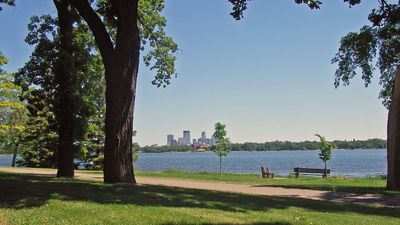 Lake Calhoun walking trail overlooking downtown
