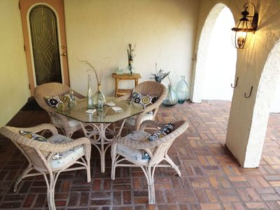 Venice house rental - Covered porch with 2 overhead fans