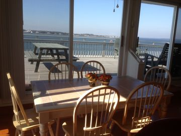dining area with bay view